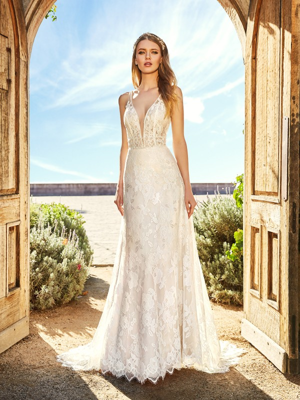 Simply Val Stefani ROSA unlined deep V-neck bodice embroidered lace fabric A-line bridal gown with beaded sash