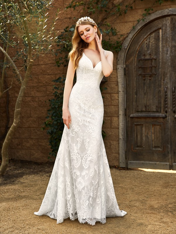 Simply Val Stefani WHITNEY embroidered Chantilly lace mermaid bridal gown with deep V-neck and thin straps