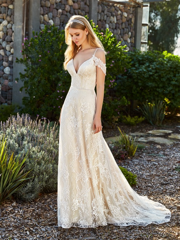 Simply Val Stefani YUNA romantic re-embroidered lace fabric A-line bridal gown with deep V-neck and swag sleeves