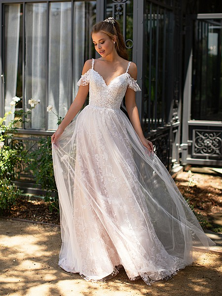 Style ELIANA floral sparkle tulle wedding dress with swag sleeves and lace straps