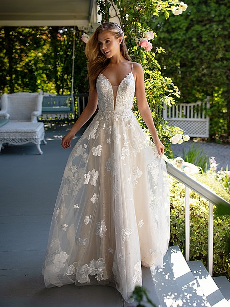 Style DONATA floral twinkle tulle wedding dress with plunging sweetheart neckline