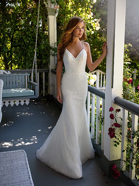 Style HALO chantilly lace mermaid wedding dress with sequin details