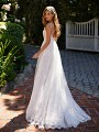 Style GIANNA spaghetti strap a-line wedding gown with open back and lace trim train
