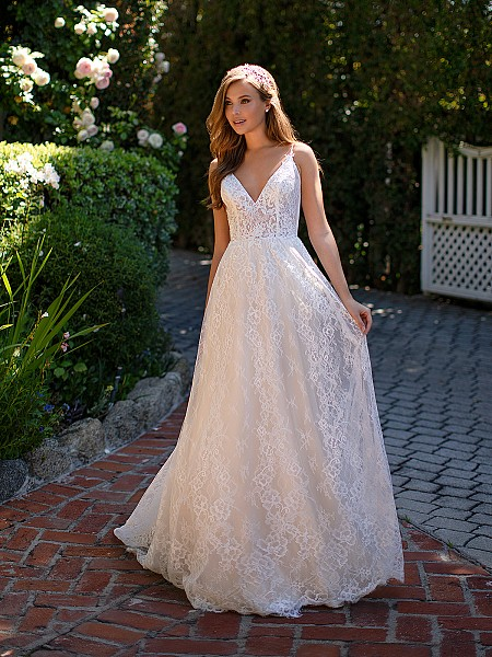 Style GIANNA embroidered lace wedding dress with deep v-neckline