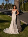 Shimmer Net Mermaid Wedding Dress with Deep V-Neckline and Illusion Straps Simply Val Stefani Fantasia S2165
