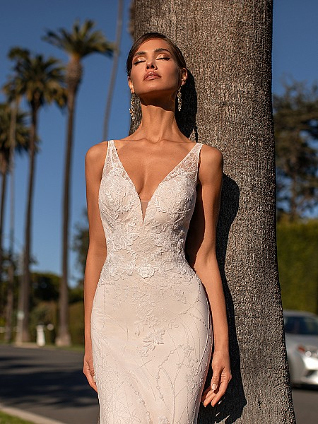 Chic Shimmer Net Fitted Bodice with Deep V-neckline and Illusion Lace Straps Simply Val Stefani Fantasia S2165