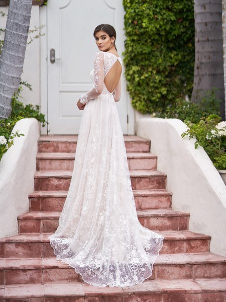 Style SURFSIDE charming keyhole back embroidered lace fabric A-line bridal gown with buttons along zipper and sweep train